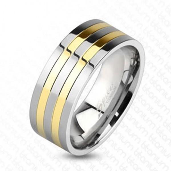 Ring Titan silber gold 8mm breit Linie Classic 60 (19) - 66 (21)