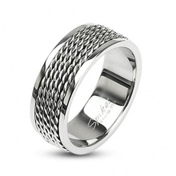 """Herren Damen Ring silber """"Chain Links"""" Edelstahl"""