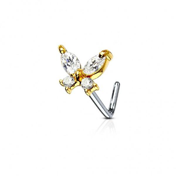 Tapsi´s Coolbodyart®  Nasenpiercing L Stecker Gebogen Chirurgenstahl 316L Silber,Gold,RoséGold 6mm Z