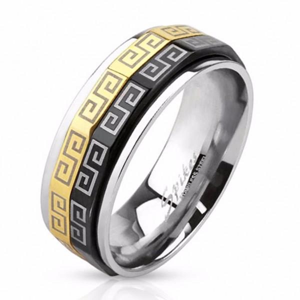 Herren Damen Ring Spinner Fingerring silber gold schwarz Edelstahl