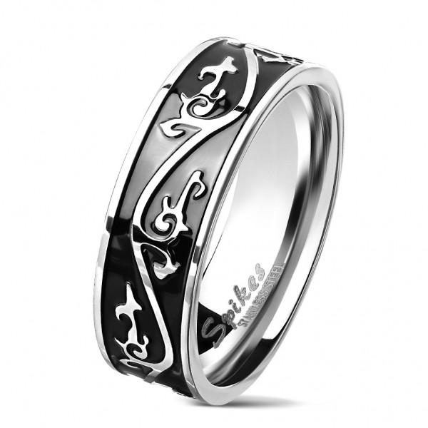 Tapsi´s Coolbodyart®| Fingerring Statementring Edelstahl 316L Schwarz Silber Tribal Muster Größe 60(