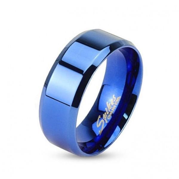 Blauer Edelstahl Unisex Ring mit abgeflachten Kanten