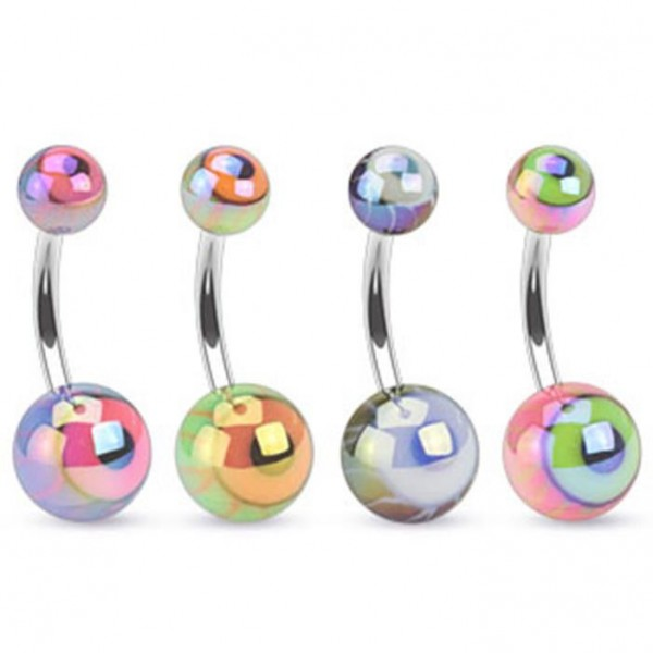 "Bauchnabelpiercing ""Metallic Eyeball"" 4 Farben oder Set"