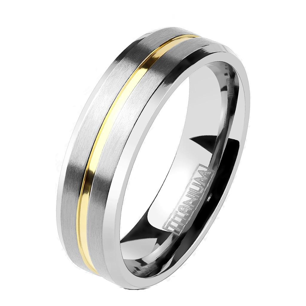 18 Edelstahl Ring silber 6mm breit vergoldet diagonale Streifen 47 ? 57 15
