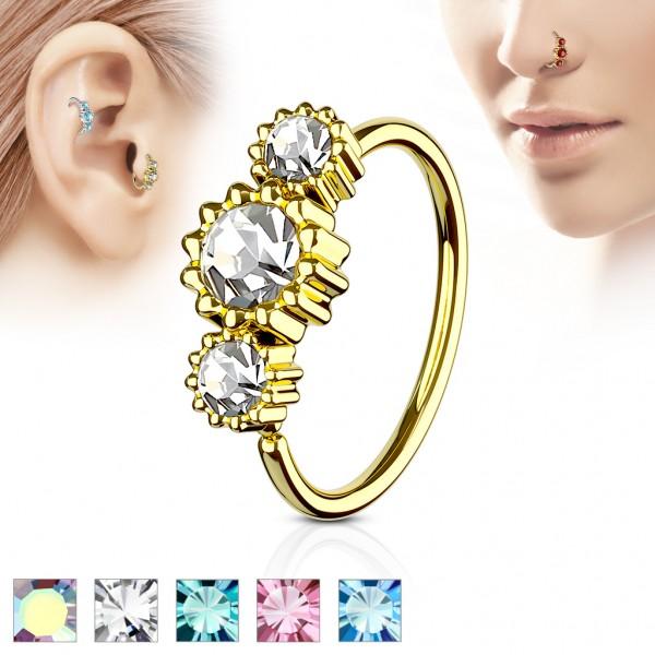 Tapsi´s Coolbodyart® Hoop Ring für Nase/Ohr Cartilage Ring gold mit Zirkonia