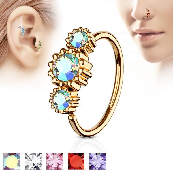Tapsi´s Coolbodyart® Hoop Ring für Nase/Ohr Cartilage Ring roségold mit Zirkonia
