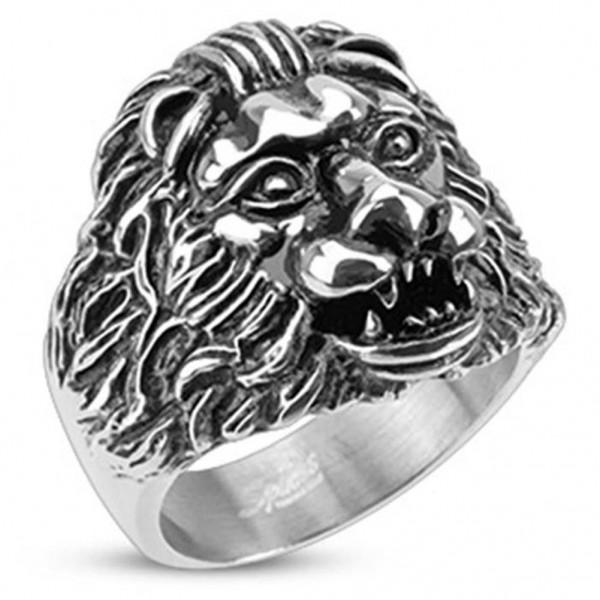 "Herren Damen Ring ""Grave Lion"" Edelstahl - RESTPOSTEN!!!"