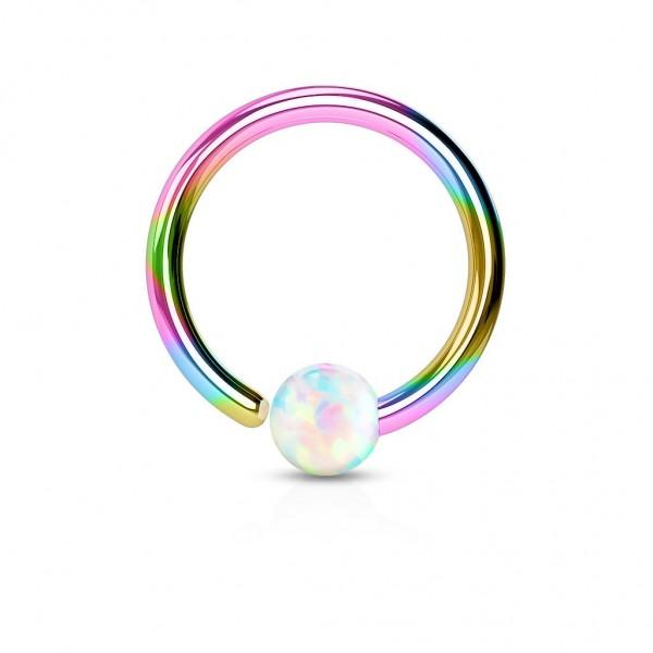 Tapsi´s Coolbodyart® Hoop Ring Chirurgenstahl regenbogen mit Opal in weiß verschiedene Längen und S