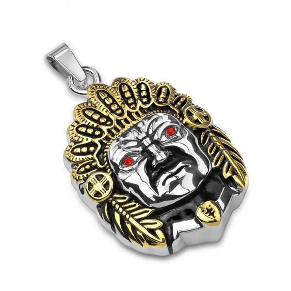 Tapsi´s Coolbodyart®| Kettenanhänger Medaillon Edelstahl Indianerhäuptling Schwarz Gold Kristall Rot