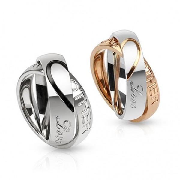 """Ringe mit halbierten Herzen für Paare und eingeviertem """"Love One Another"""" 10mm"""