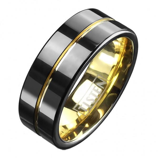 Tapsi´s Coolbodyart®| Fingerring Tisten Tungsten Titanlegierung Bandring Schwarz Gold Zwei Ton Optik