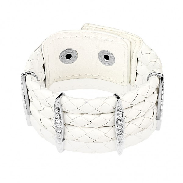 Coolbodyart Armband Lederarmband Bikerarmband weiß mit klaren Glitzersteinen ...