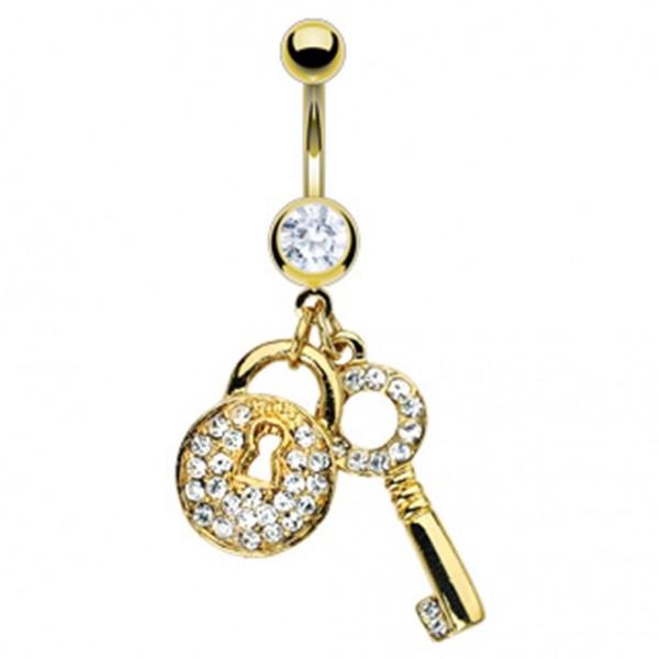 Coolbodyart Chirurgenstahl 14 Karat vergoldet Bauchnabelpiercing Schlüssel mi...