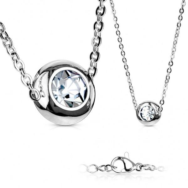 Halskette Edelstahl, Stainless Steel in silber mit Solitär Zirkonia klar-weiß
