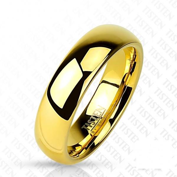 Titan Wolfram Ring gold 6mm breit hochglänzend 47 (15) - 66 (21)
