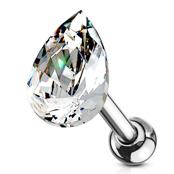 Tapsi´s Coolbodyart®| Ohr Cartilage Tragus Barbell Edelstahl Chirurgenstahl 316L Silber Kristall Trä