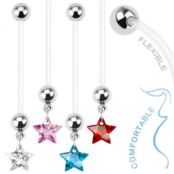 Damen Bauchnabel Schwangerschaftspiercing Nabelpiercing Bioflex mit Stern