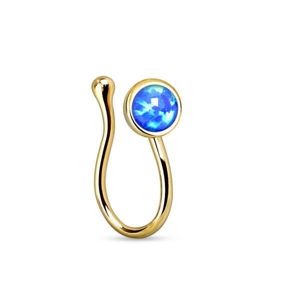 Damen Nasenclip Nasenpiercing Fake-Piercing Clip Gold mit Synthetik Opal