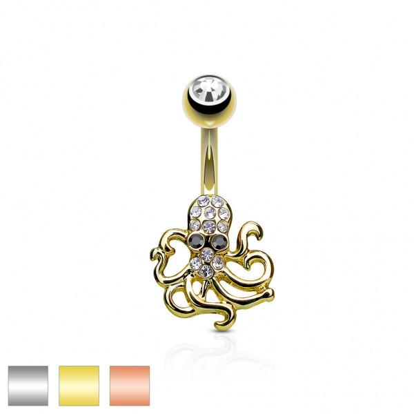 Tapsi´s Coolbodyart® Bauchnabelpiercg Chirurgenstahl 316L mit Kristallen besetzter Octopus