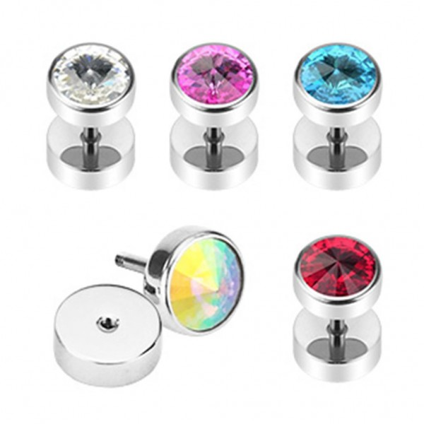 Fake Plug Taper 8mm Kristall 5 Farben