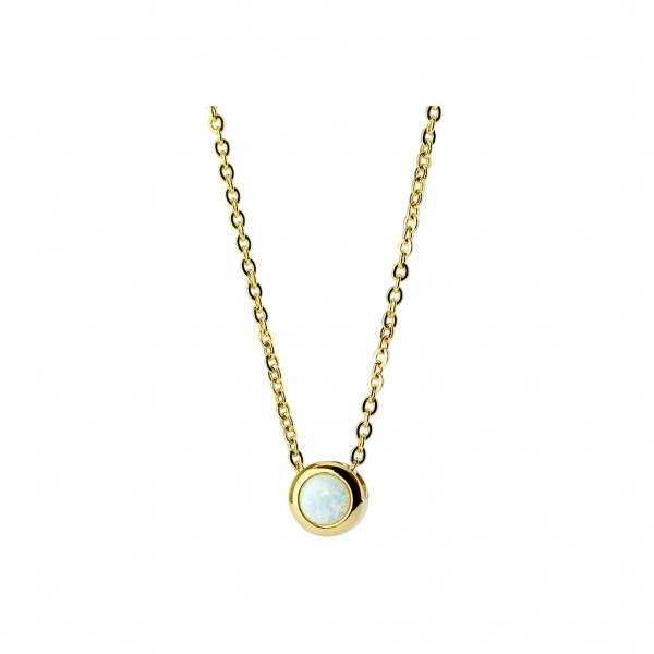 Halskette Edelstahl 50 cm mit Opal in weiß Kette in gold, schwarz oder roségold