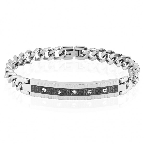 Armband silber schwarz Edelstahl Checkered 5 Zirkonia Länge mm: 200 o 210