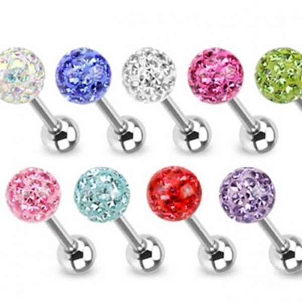 Chirurgenstahl Zungen Piercing Kristall 9 Farben Epoxy