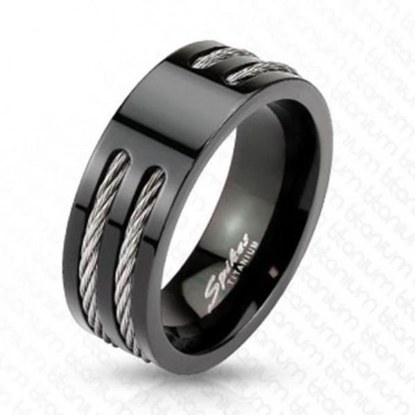 "Herren Damen Ring Fingerring Titan schwarz ""Stahl Wire"""