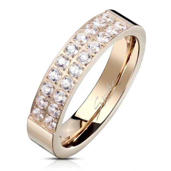 Tapsi´s Coolbodyart®| Fingerring Bandring Edelstahl 316L Roségold 20 Stck. Zirkonia Fräsung Größe 47