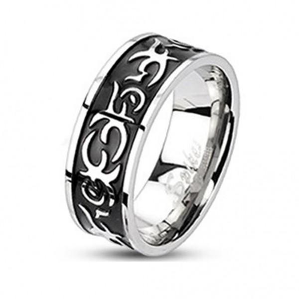 Edelstahl Tribal Ring silber-schwarz 8mm breit