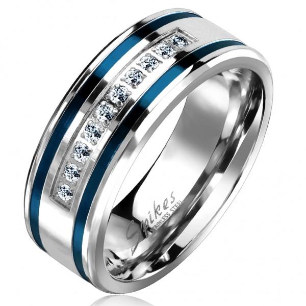 Tapsi´s Coolbodyart®| Fingerring Bandring Edelstahl Silber Blaue Streifen Zirkonia Fräslinie Größe60