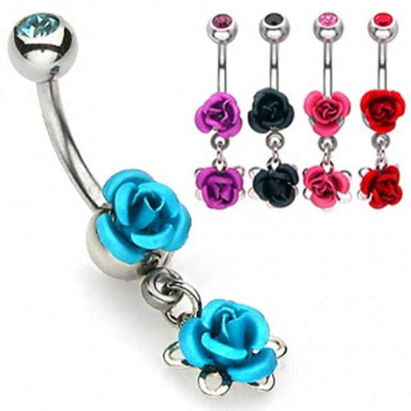 Bauchnabelpiercing Blume Rose 5 Farben oder Set