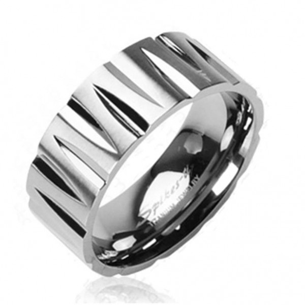 "Coolbodyart Unisex Titan Ring silber ""Tribal Faceted"""