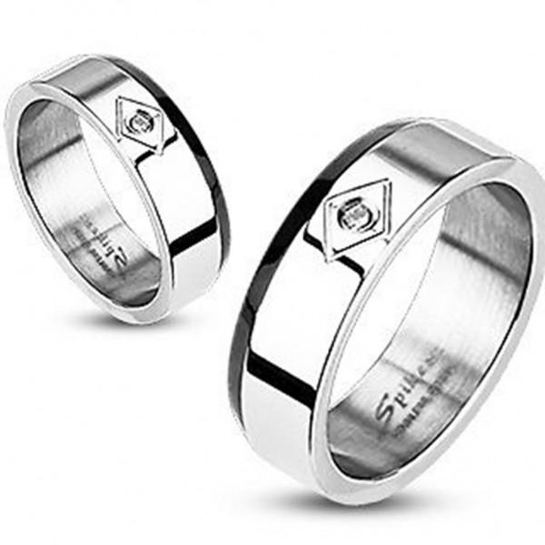 Herren Damen Ring Fingerring silber mit Zirkonia Black Line