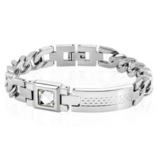 Armband silber Edelstahl Checkered Platte Zirkonia Länge in mm: 200 oder 210