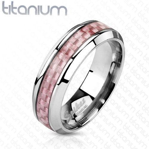 Unisex Ring Titan Pink Carbon Inlay 5 Größen Titanium