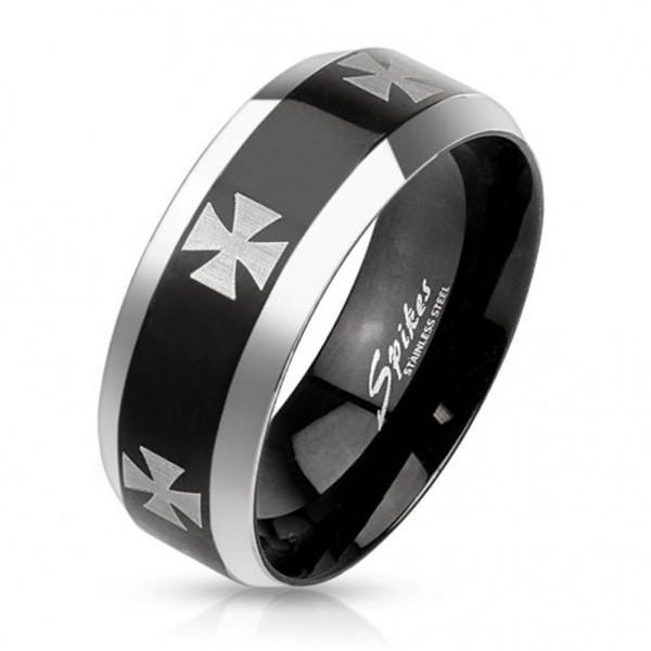 Ring silber schwarz 8mm breit Edelstahl Lasergravur Eiserne Kr 60 (19) - 72 (23)