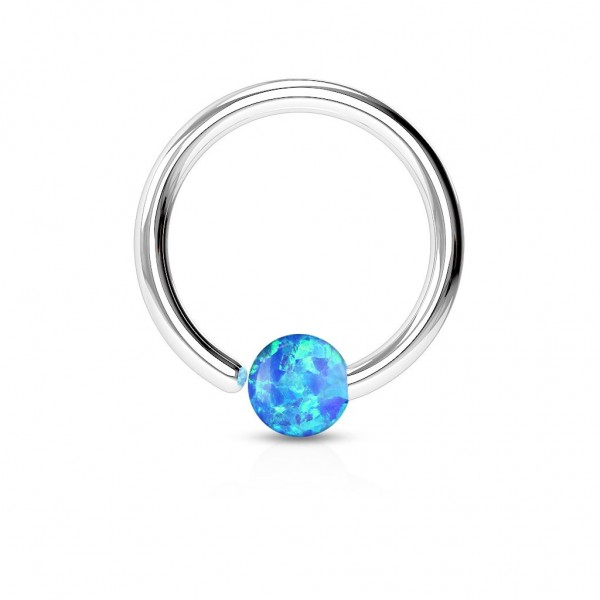 Tapsi´s Coolbodyart® Hoop Ring Chirurgenstahl silber mit Opalimitation