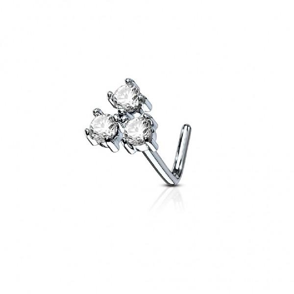 Tapsi´s Coolbodyart®| Nasenpiercing L Stecker Gebogen Chirurgenstahl 316L Silber 6mm Zirkonia Triang