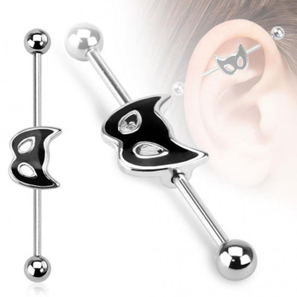 "Unisex Inlay Industrial Piercing Katze Maske ""Cat Mask"" 38mm"