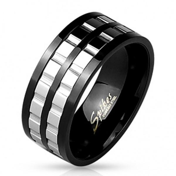 Edelstahl Ring schwarz 8,8mm breit Getriebe silber 60 (19) - 69 (22)