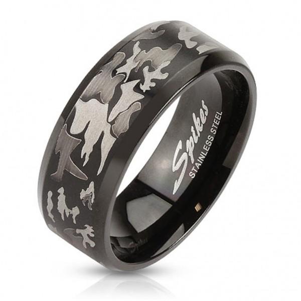 Coolbodyart AF Edelstahl Ring schwarz 8mm breit mit lasergefrästem Camouflage