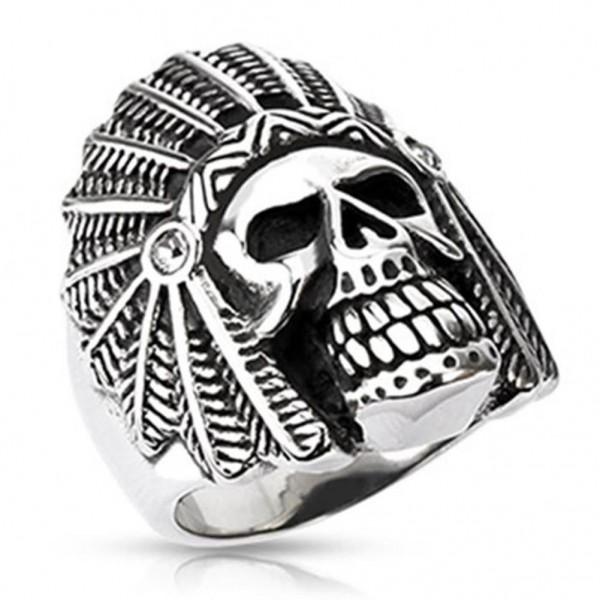 "Herren Damen Ring Fingerring ""Apache Totenkopf"" Edelstahl Silber-Schwarz"