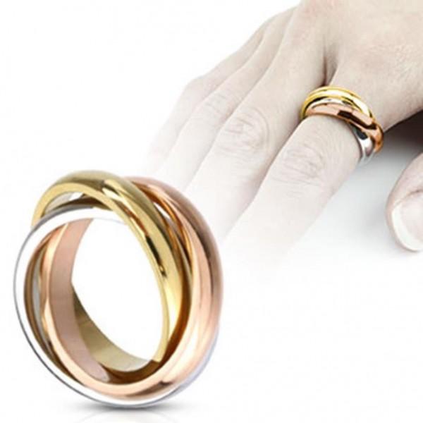 Dreifacher Edelstahl Ring silber gold rosegold Triple