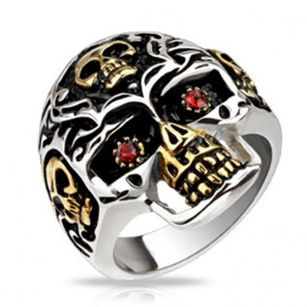 "Edelstahl Biker Herren Damen Ring ""Red Skull Eye"""