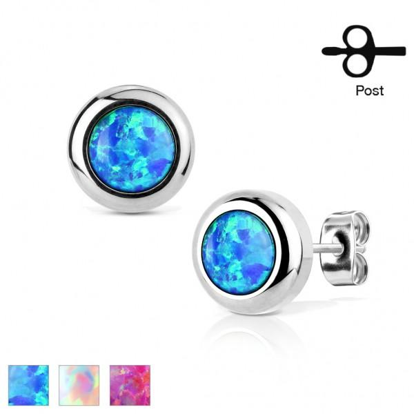 Tapsi´s Coolbodyart® Ohrstecker Ohrring Stud Edelstahl-Chirurgenstahl in Silber mit Opal in blau, we