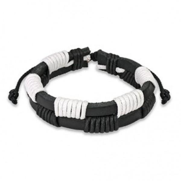 1 Lederarmband schwarz weiß 190-250mm Black & White Style