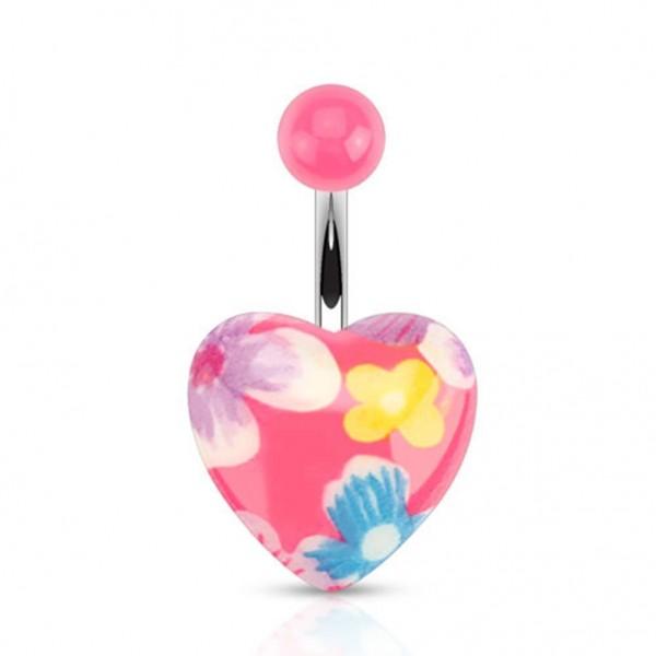 """Bauchnabelpiercing """"Pink Flora Herz"""" Flower Power"""