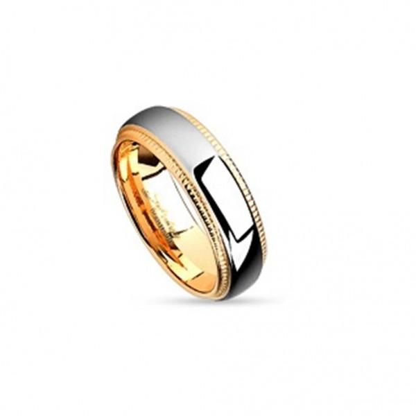 AF Edelstahl Ring roségold 6mm breit Metallspur mittig 47 (15) - 57 (18)