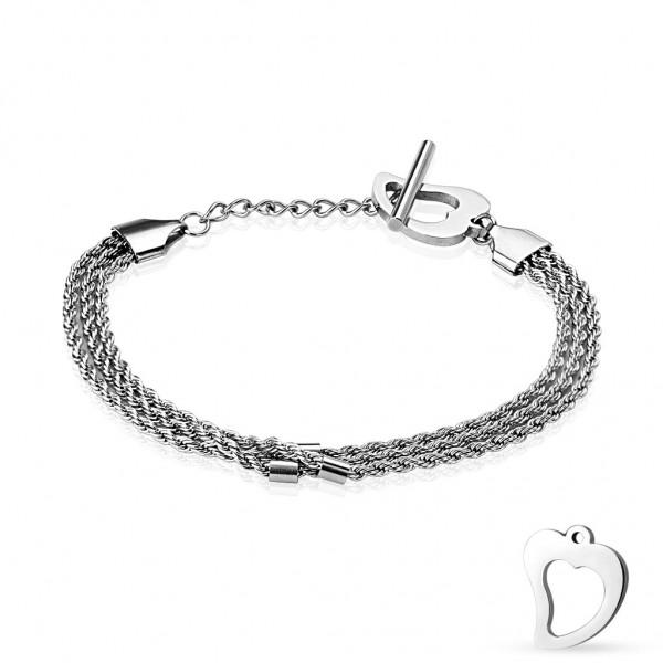 Coolbodyart Armband Edelstahl 3 - fach Kettenarmband mit Verlängerung Herz an...